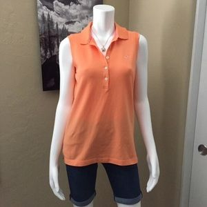 Vineyard Vines Orange Sleeveless Polo Style Shirt